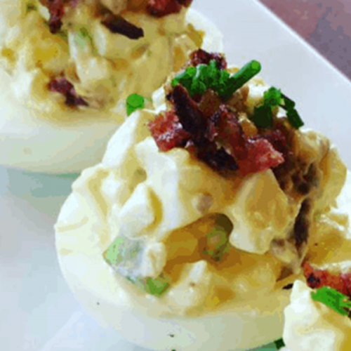 Bacon And Egg Salad Deviled Eggs